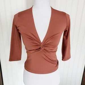 Brown V neck knotted quarter sleeve career top